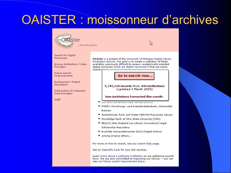 OAISTER : moissonneur d'archives