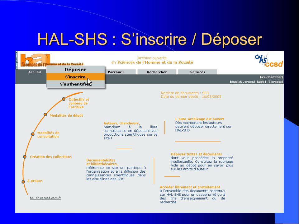 HAL-SHS : S'inscrire / Déposer