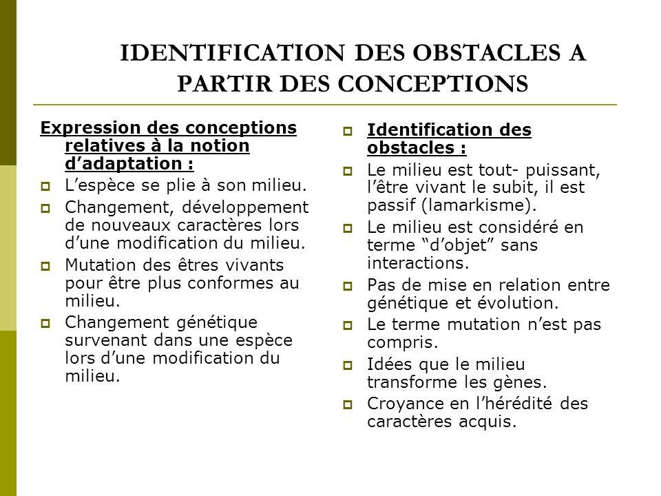 IDENTIFICATION DES OBSTACLES A PARTIR DES CONCEPTIONS