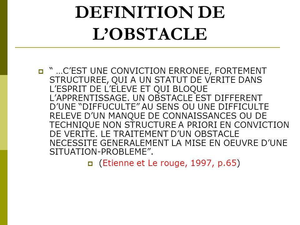 DEFINITION DE L'OBSTACLE