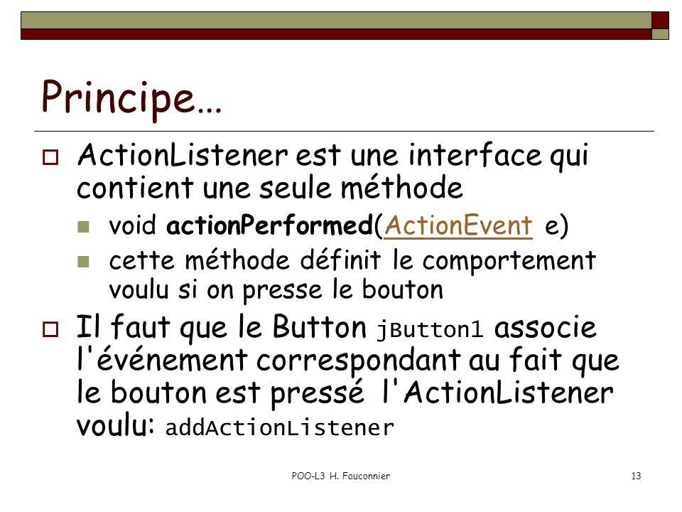 Principe… ActionListener est une interface qui contient une seule méthode. void actionPerformed(ActionEvent e)