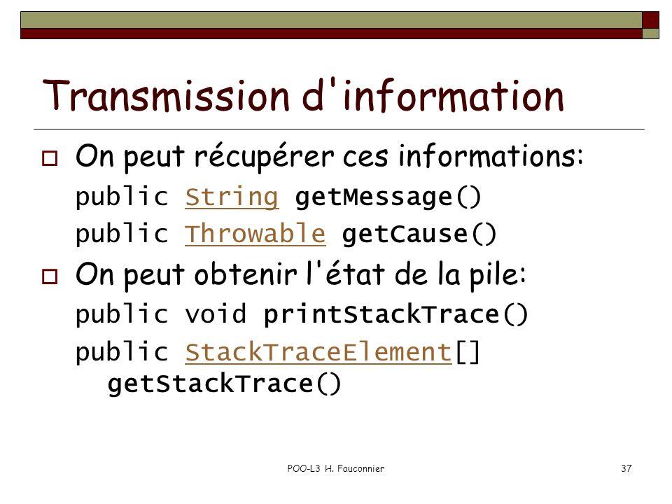 Transmission d information