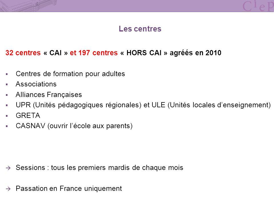 Les centres 32 centres « CAI » et 197 centres « HORS CAI » agréés en 2010. Centres de formation pour adultes.