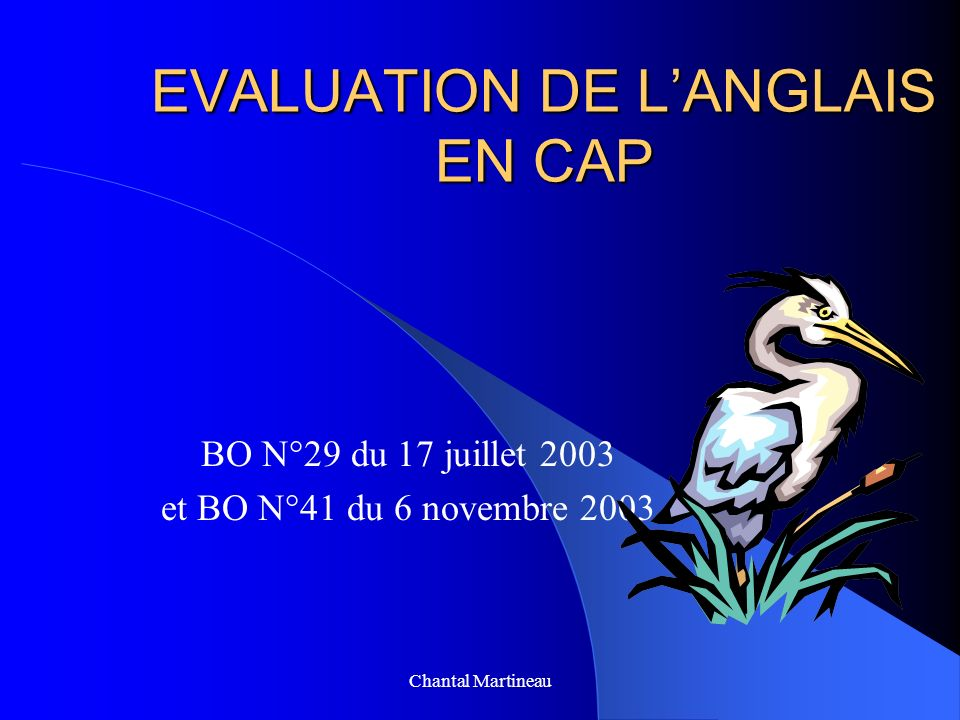 EVALUATION DE L'ANGLAIS EN CAP