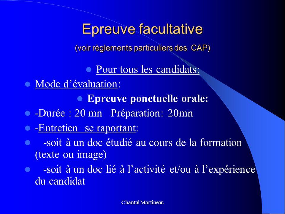 Epreuve facultative (voir règlements particuliers des CAP)