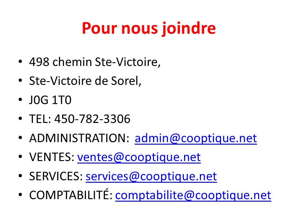Pour nous joindre 498 chemin Ste-Victoire, Ste-Victoire de Sorel,