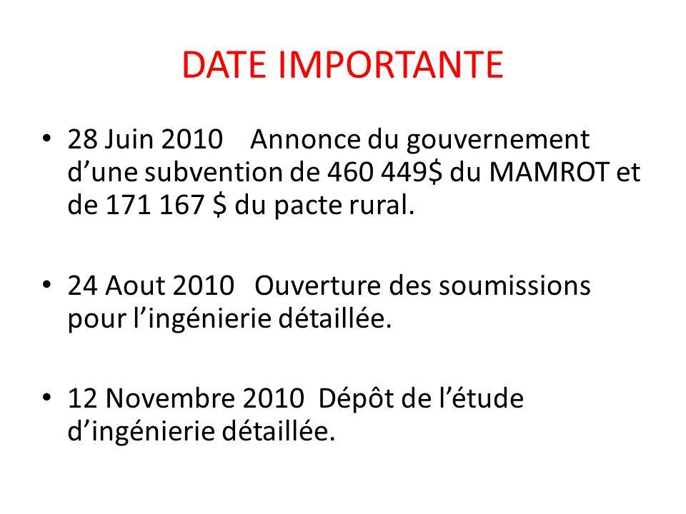 DATE IMPORTANTE 28 Juin 2010 Annonce du gouvernement d'une subvention de 460 449$ du MAMROT et de 171 167 $ du pacte rural.