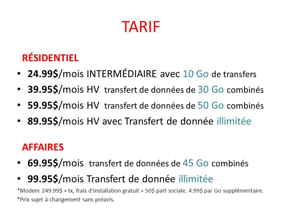 TARIF RÉSIDENTIEL 24.99$/mois INTERMÉDIAIRE avec 10 Go de transfers