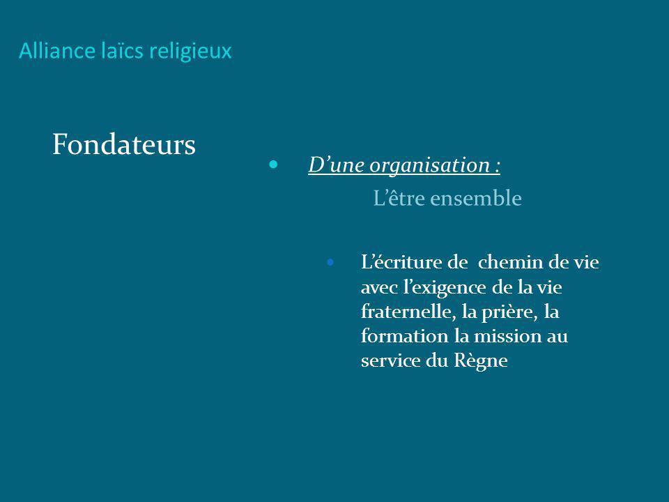 Fondateurs Alliance laïcs religieux D'une organisation :