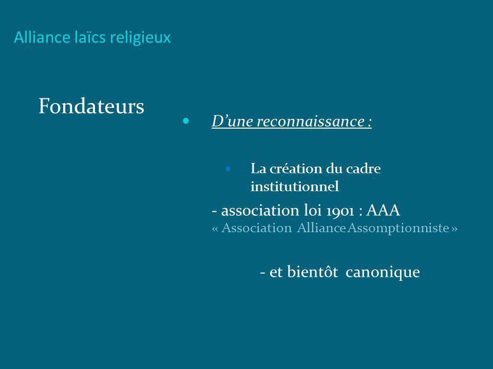 Fondateurs Alliance laïcs religieux D'une reconnaissance :