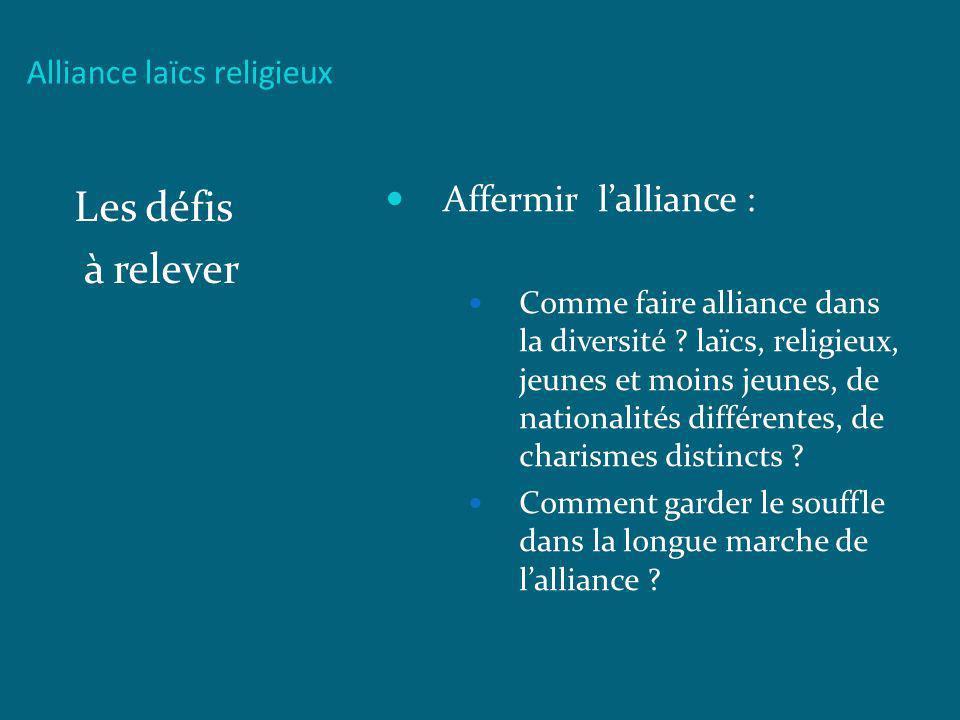 Les défis à relever Affermir l'alliance : Alliance laïcs religieux