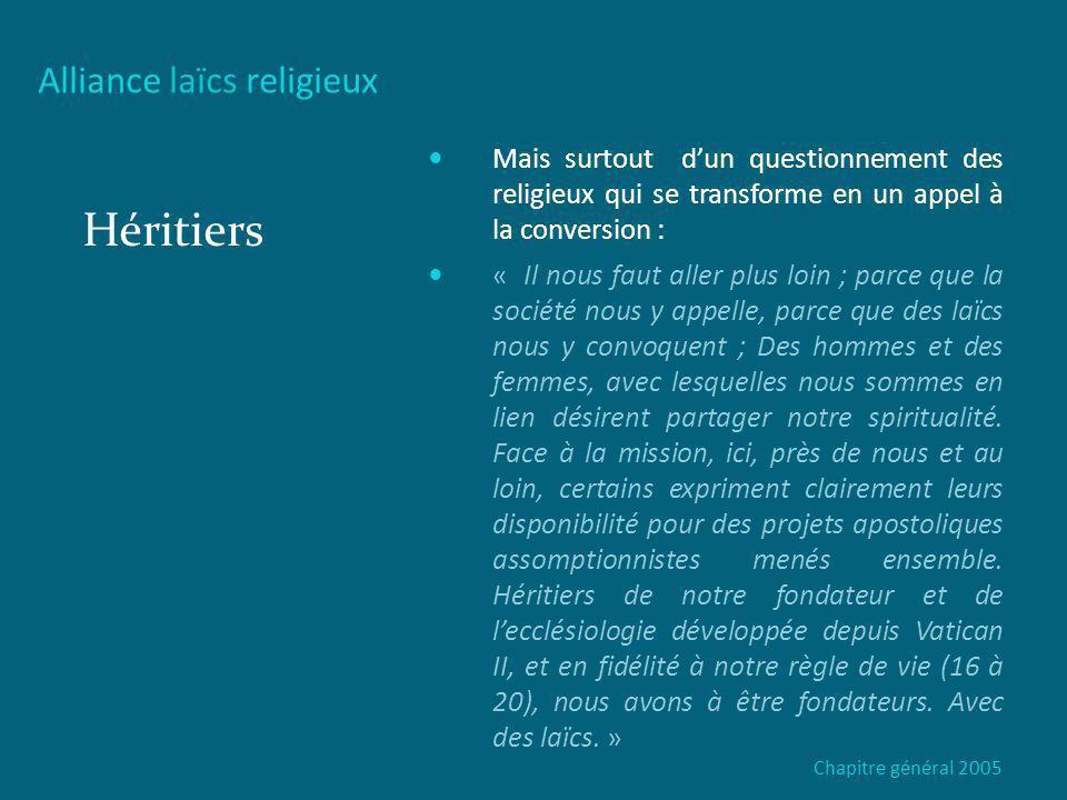 Héritiers Alliance laïcs religieux