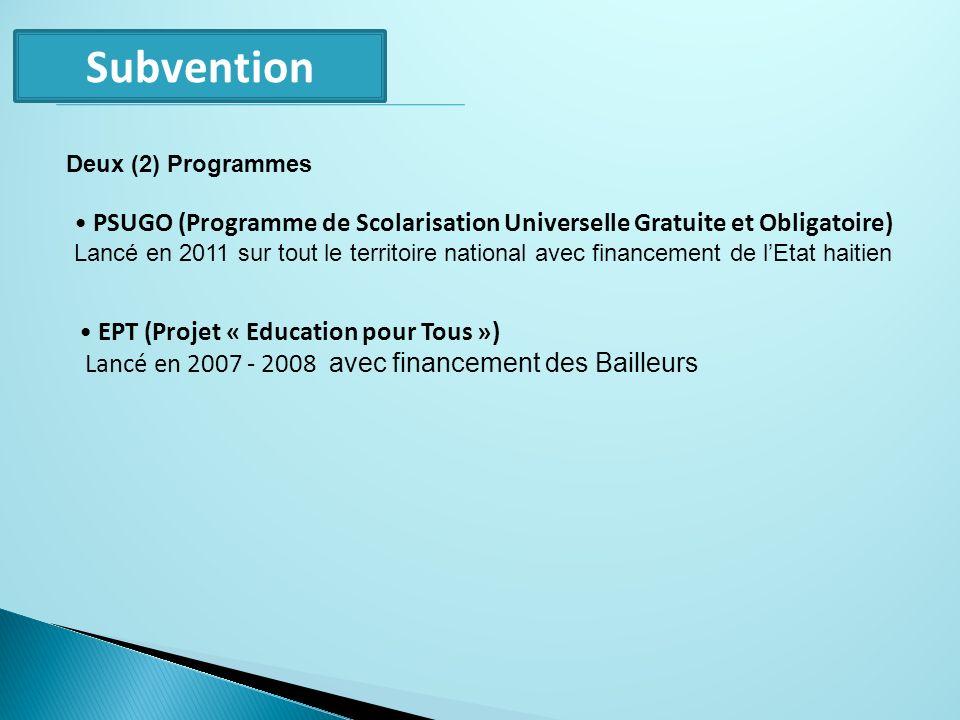 Subvention Deux (2) Programmes. PSUGO (Programme de Scolarisation Universelle Gratuite et Obligatoire)