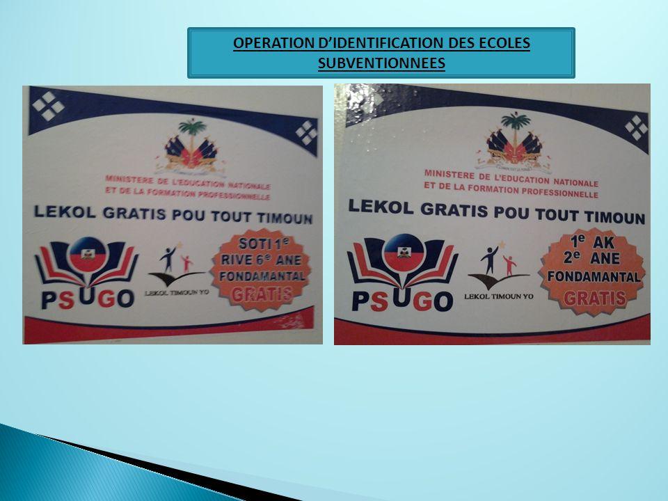 OPERATION D'IDENTIFICATION DES ECOLES SUBVENTIONNEES