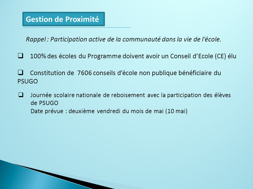 Gestion de Proximité Rappel : Participation active de la communauté dans la vie de l'école.