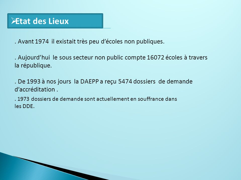 Etat des Lieux . Avant 1974 il existait très peu d'écoles non publiques.