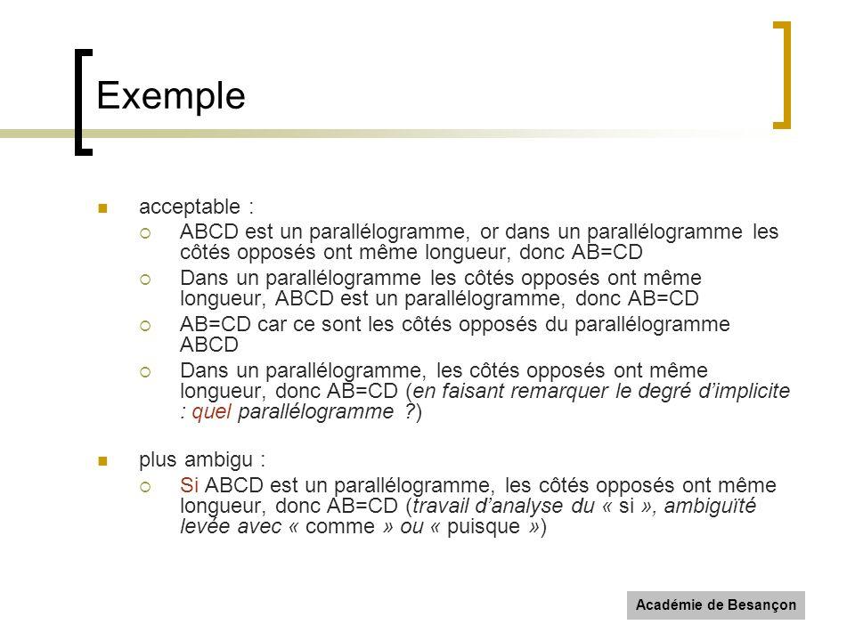 Exemple acceptable : ABCD est un parallélogramme, or dans un parallélogramme les côtés opposés ont même longueur, donc AB=CD.