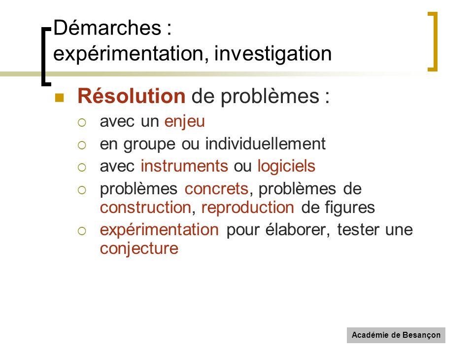 Démarches : expérimentation, investigation