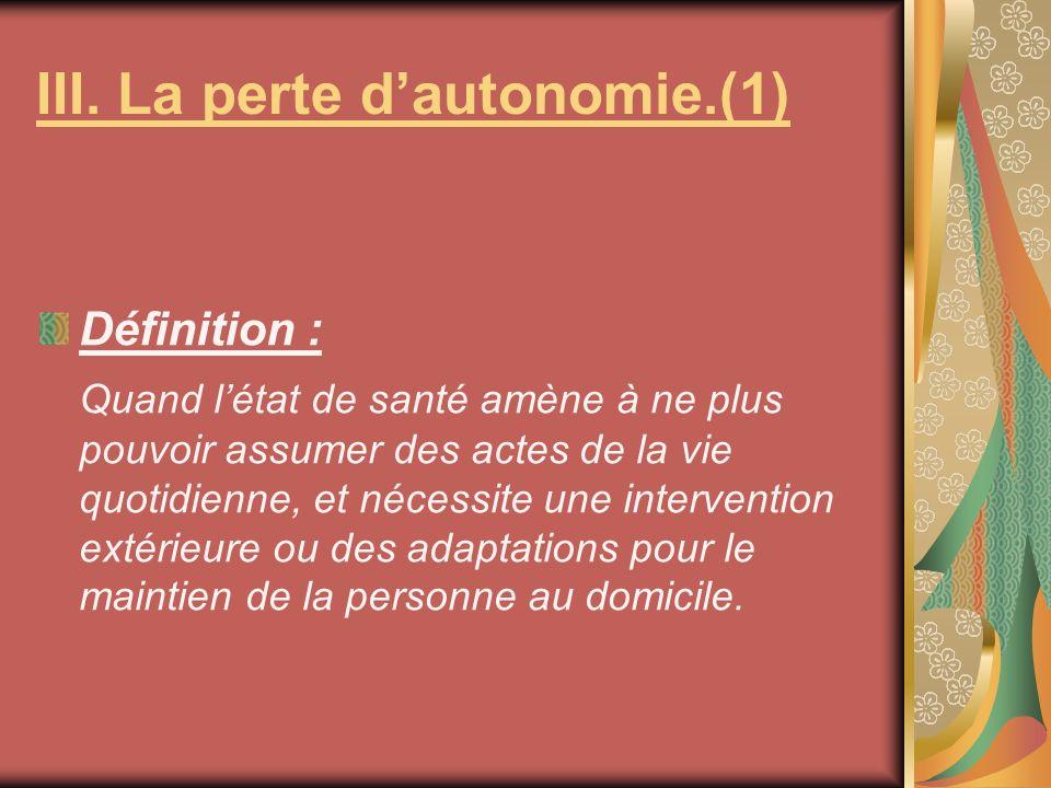 III. La perte d'autonomie.(1)