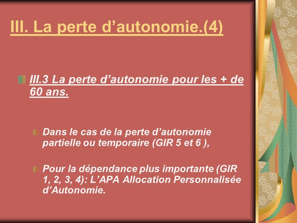 III. La perte d'autonomie.(4)
