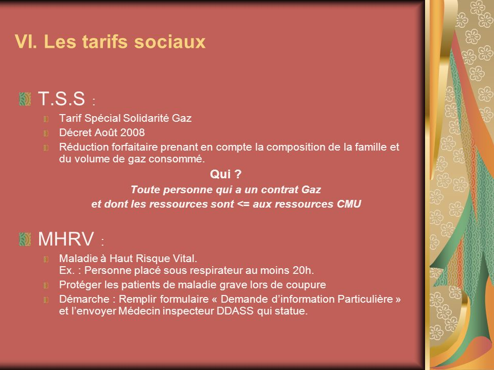 VI. Les tarifs sociaux T.S.S : MHRV : Qui