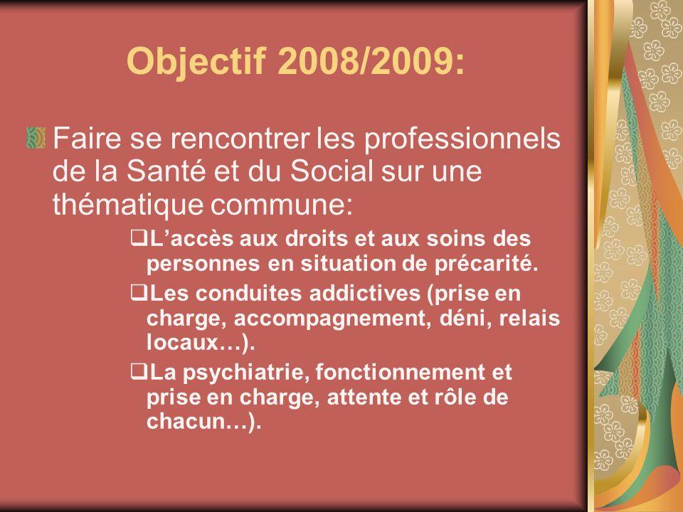 Objectif 2008/2009: Faire se rencontrer les professionnels de la Santé et du Social sur une thématique commune: