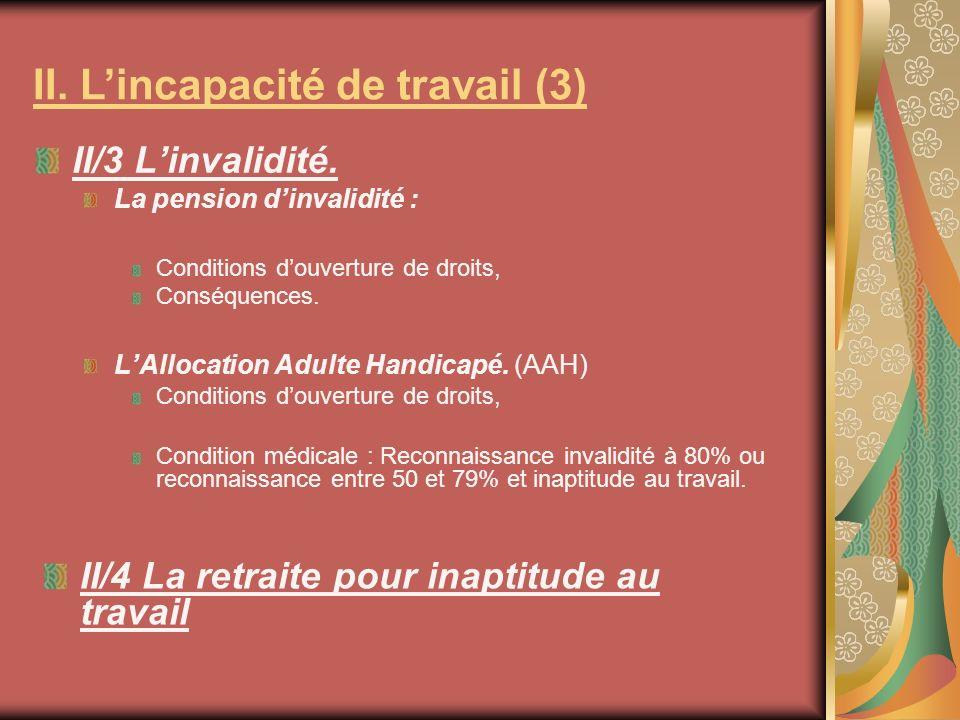 II. L'incapacité de travail (3)