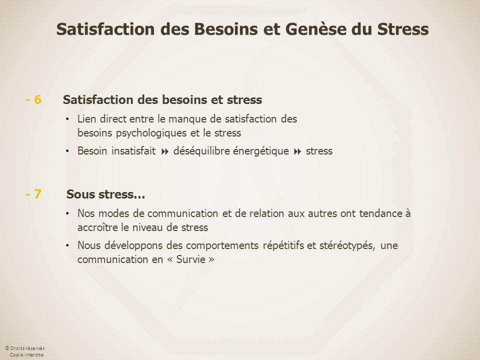 Satisfaction des Besoins et Genèse du Stress