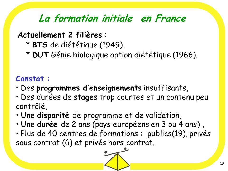 La formation initiale en France