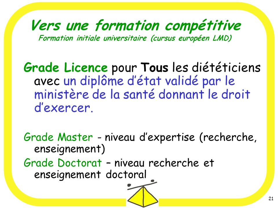 Vers une formation compétitive Formation initiale universitaire (cursus européen LMD)