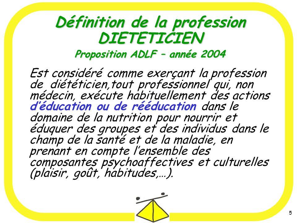 Définition de la profession DIETETICIEN Proposition ADLF – année 2004