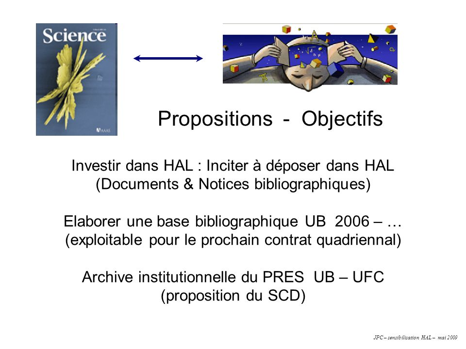 Propositions - Objectifs