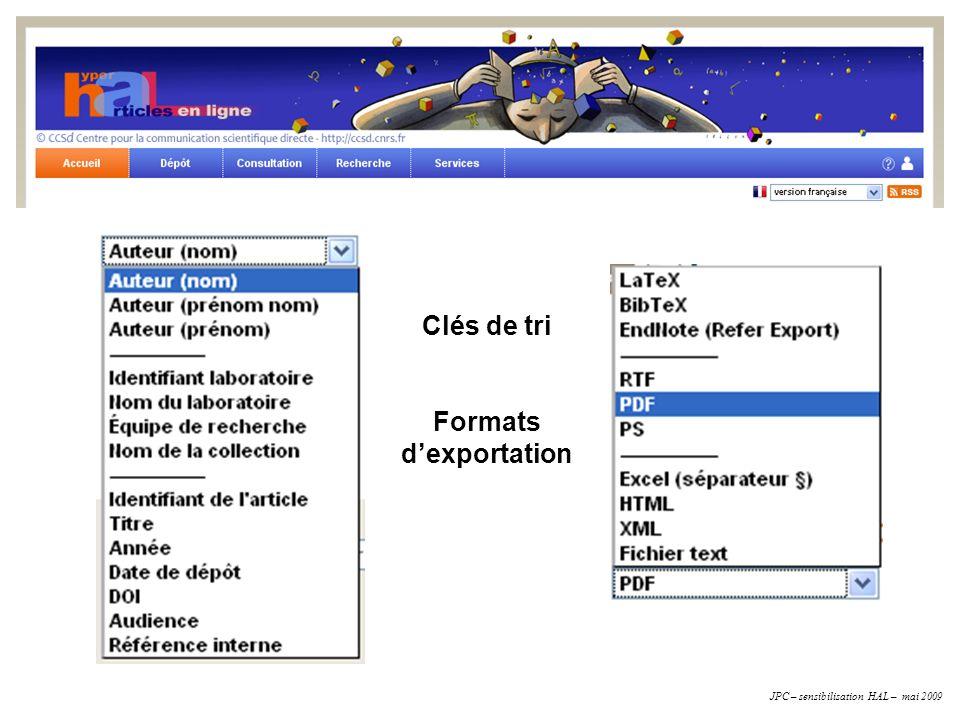Clés de tri Formats d'exportation