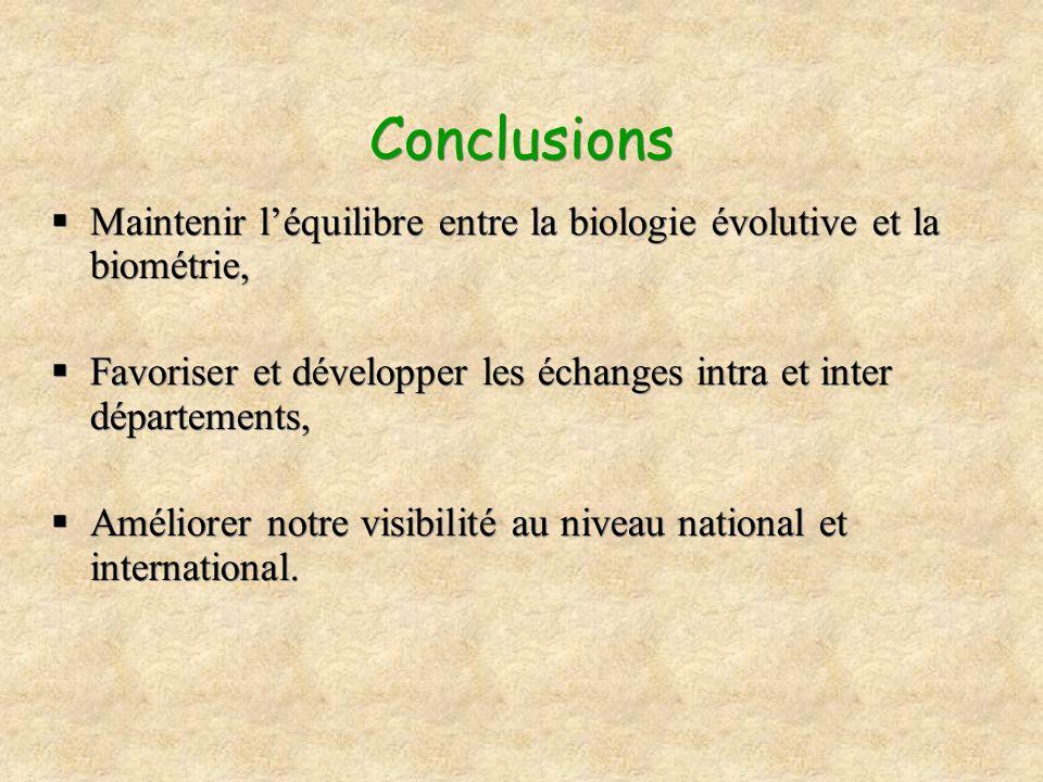 Conclusions Maintenir l'équilibre entre la biologie évolutive et la biométrie, Favoriser et développer les échanges intra et inter départements,