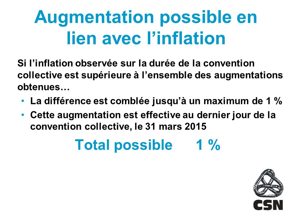 Augmentation possible en lien avec l'inflation