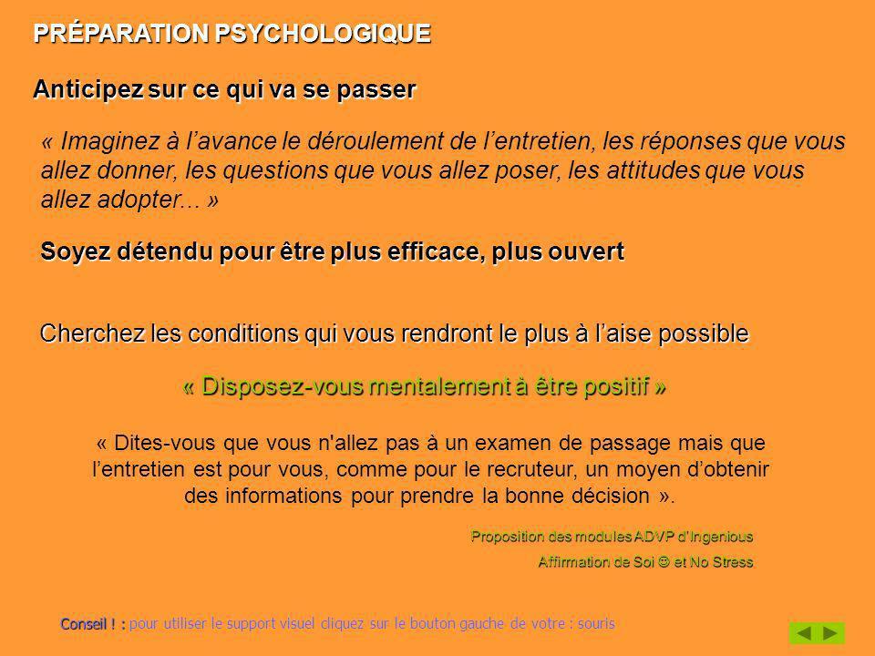 PRÉPARATION PSYCHOLOGIQUE