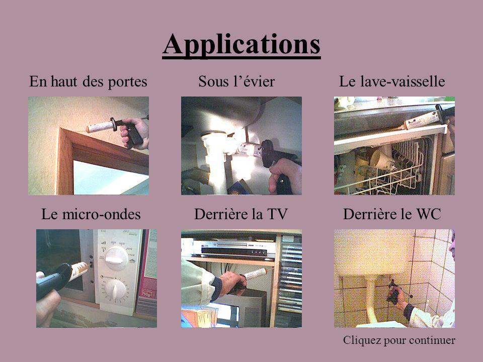Applications En haut des portes Sous l'évier Le lave-vaisselle