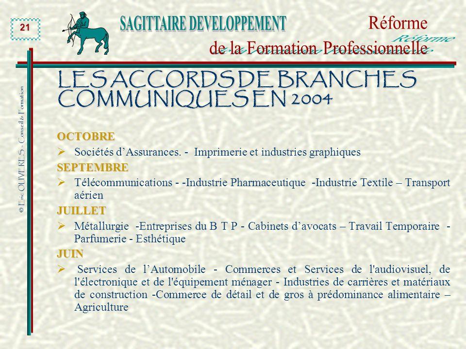 LES ACCORDS DE BRANCHES COMMUNIQUES EN 2004