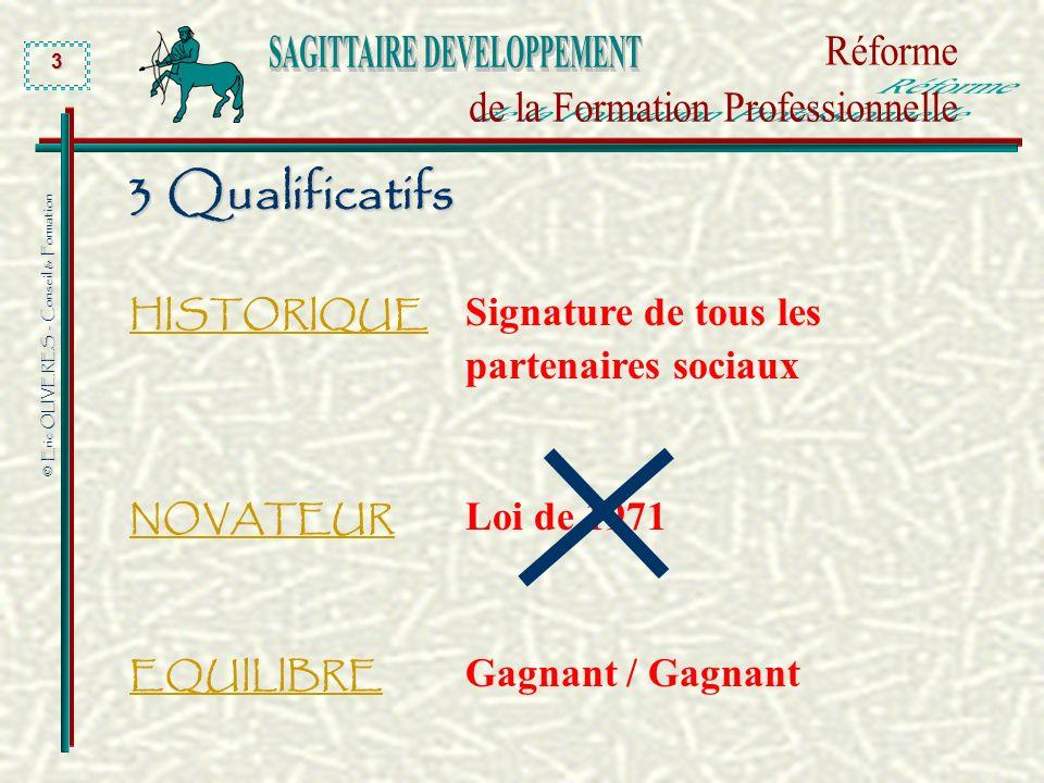 3 Qualificatifs HISTORIQUE Signature de tous les partenaires sociaux