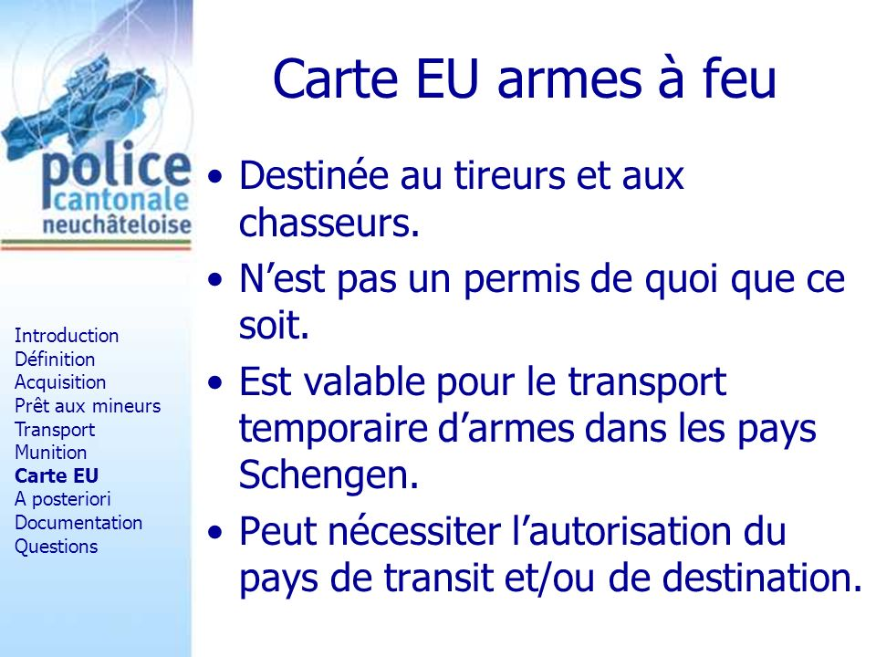 Carte EU armes à feu Destinée au tireurs et aux chasseurs.