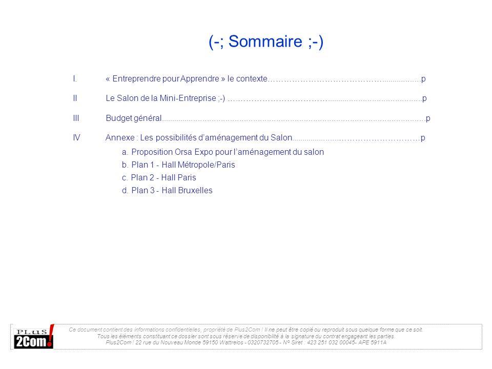 (-; Sommaire ;-) « Entreprendre pour Apprendre » le contexte……………………………………..................p.