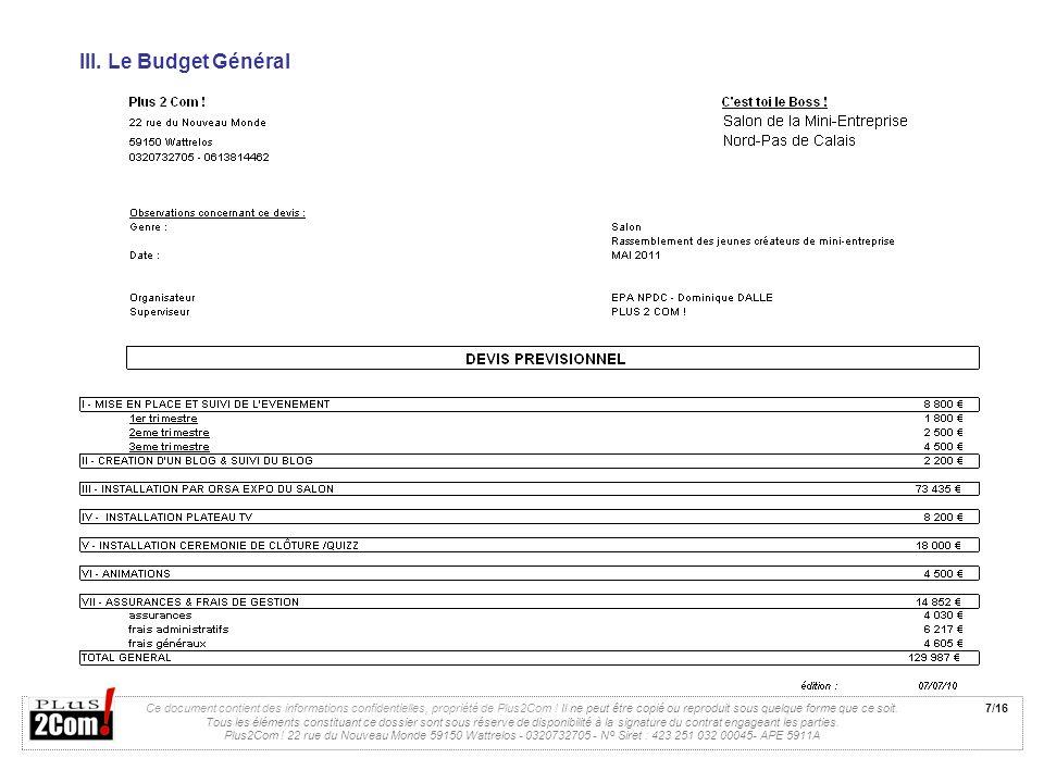 III. Le Budget Général