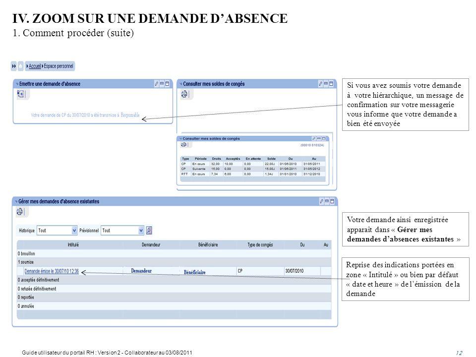 IV. ZOOM SUR UNE DEMANDE D'ABSENCE 1. Comment procéder (suite)