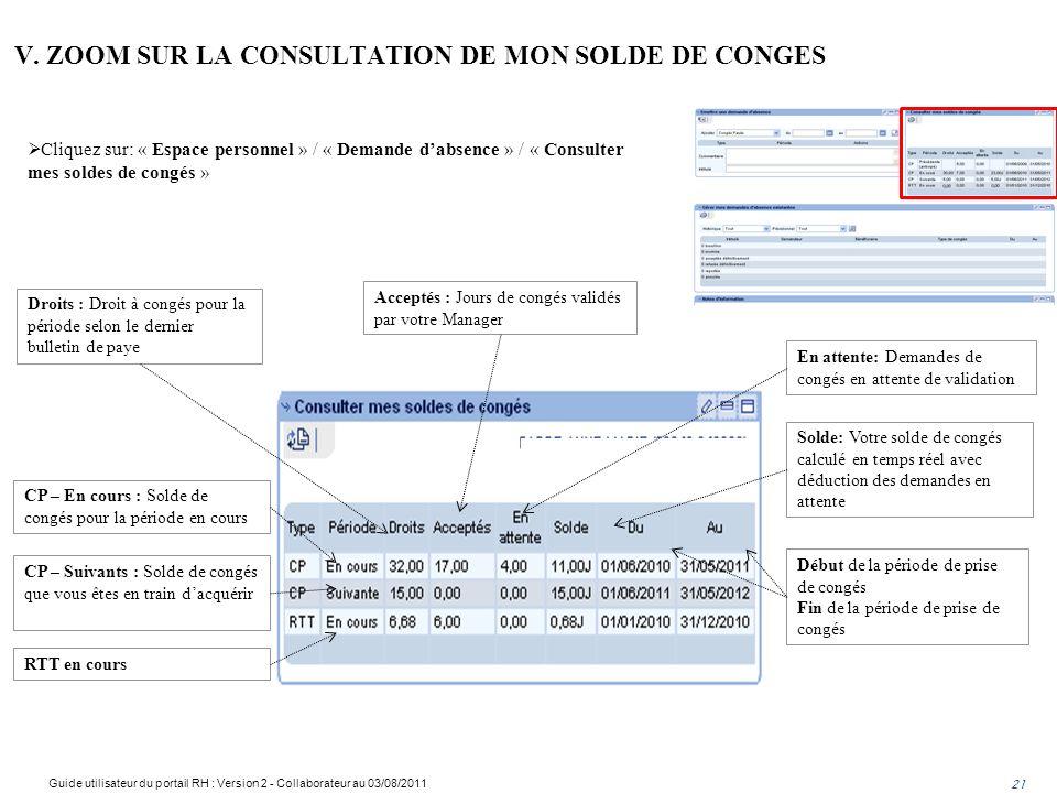 V. ZOOM SUR LA CONSULTATION DE MON SOLDE DE CONGES