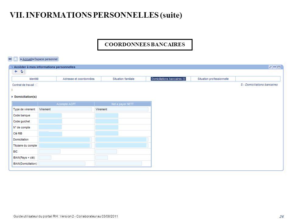 VII. INFORMATIONS PERSONNELLES (suite)