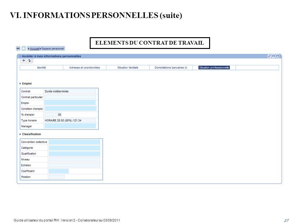 VI. INFORMATIONS PERSONNELLES (suite)