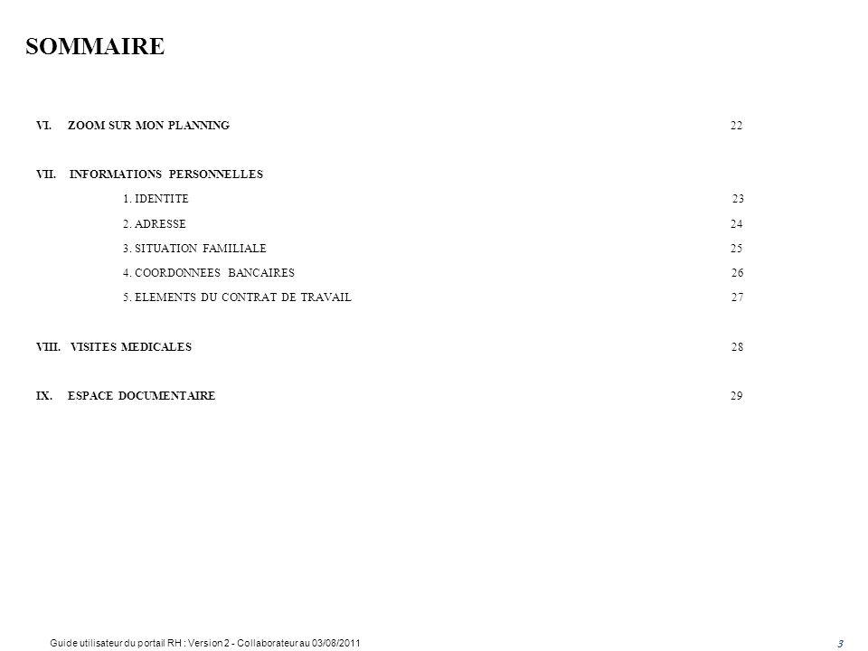 SOMMAIRE Guide utilisateur du portail RH : Version Collaborateur
