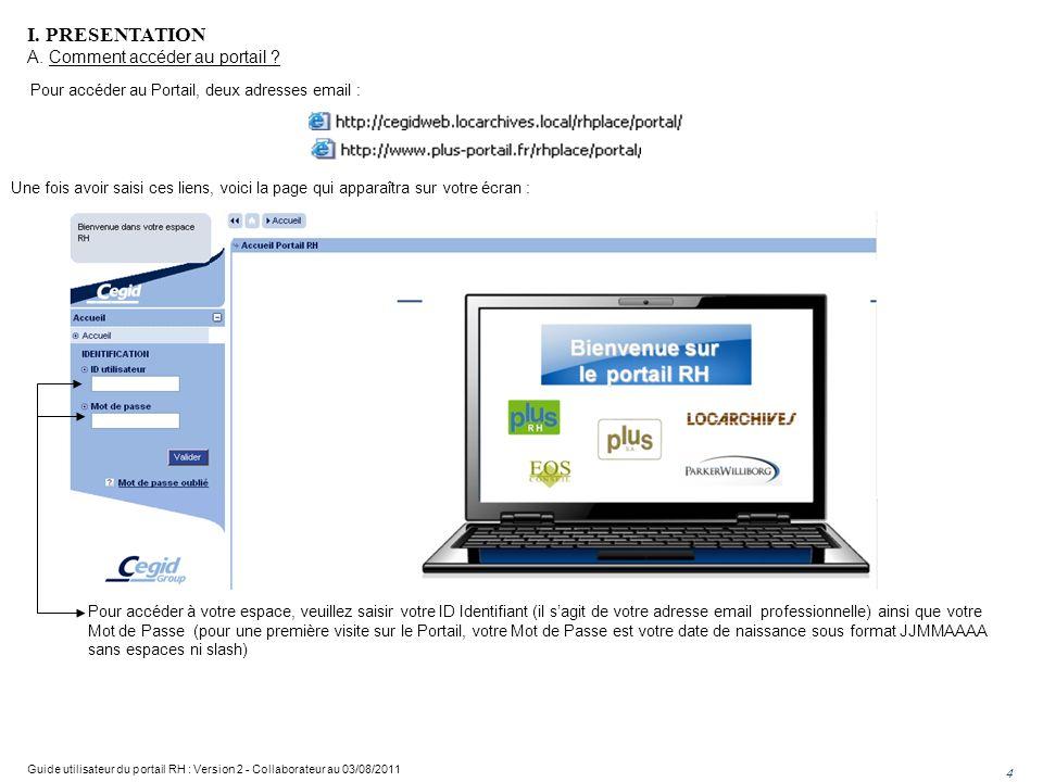 I. PRESENTATION A. Comment accéder au portail
