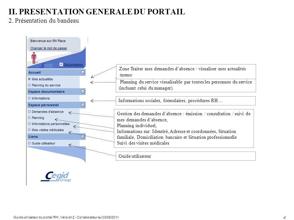 II. PRESENTATION GENERALE DU PORTAIL 2. Présentation du bandeau