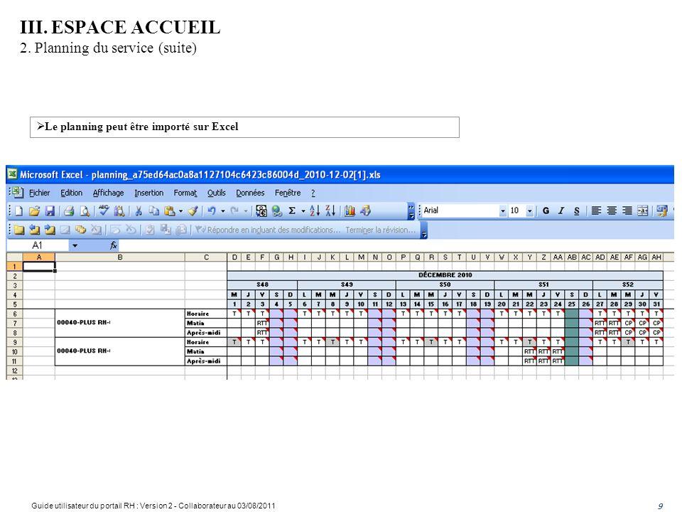 III. ESPACE ACCUEIL 2. Planning du service (suite)